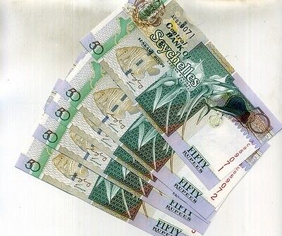 Seychelles 2011 50 Rupees 5 Consecutively Numbered Currency Note Lot Ch Cu