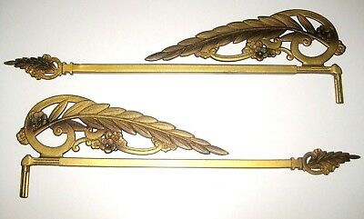 Lot of 2 (a PAIR) Antique OLD Vintage Art Nouveau Swing Arm Curtain Drapery Rods
