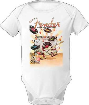 Fender Flying Records Music Rock Romper Recording Jumpsuit Baby Toddler 3F122