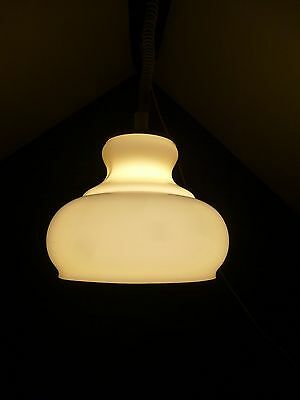 French Retro Mid Century Yellow Glass Rise & Fall Light Fitting