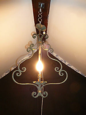 Vintage French Painted Wrought Iron Cage Chandelier