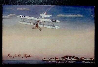 Old Vintage Antique Tucks Oilette In Full Flight Biplane WWI  Postcard - RARE