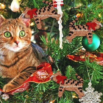 Handmade Brown Tabby Cat Christmas Tree Ornament Hand Knit Chilly Dog - Set of 3