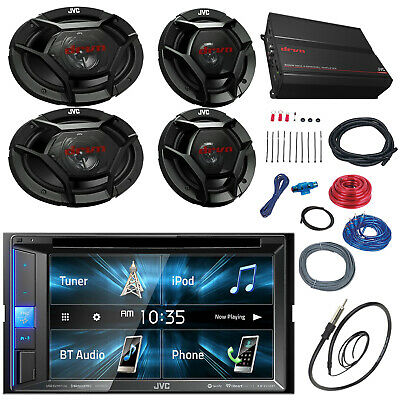 JVC 1000W Car Amplifier Set, 6x9 and 6.5 Speaker Set, JVC Bluetooth USB CD Radio