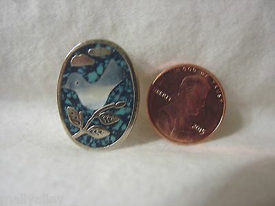 SMALL White DOVE OVAL Blue Enamel Paint PIN BROOCH Silver Metal Brand NEW