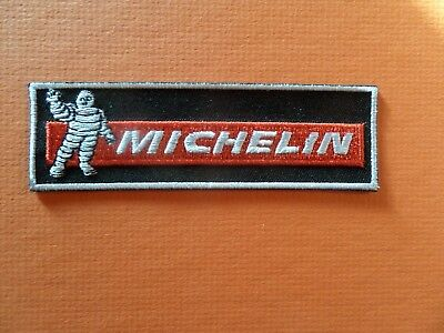 MICHELIN MAN LOGO sliver & black & red Embroidered 1-1/4 x 4-1/4 Iron On Patch