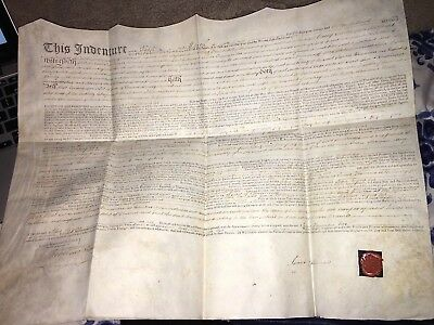 19th Century Land Indenture! Vellum! Scarce, Wax Seal 1810 , King George 3rd