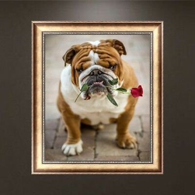 DIY 5D Diamond Embroidery Painting Dog and Flower Cross Stitch Craft Home Decor