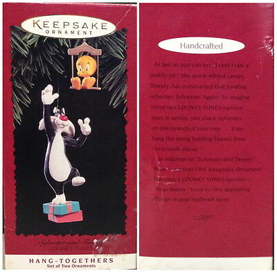 Hallmark Keepsake 2 Ornaments Set 1995 SYLVESTER & TWEETY Looney Tunes CHRISTMAS