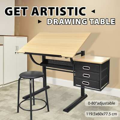 Tilt Drafting Table Stool Set Drawing Desk 3 Drawer Computer Office Student MDF