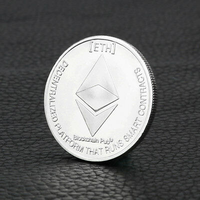 Silver Plated Commemorative Collectible Golden Iron ETH Ethereum Miner Coin