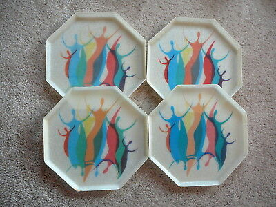 SET of FOUR - MID CENTURY MODERN EAMES OCTAGONAL FIBERGLASS TRAYS PEOPLE FIGURES