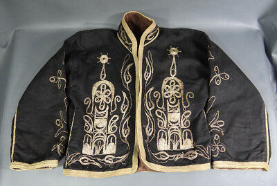 19c. Islamic Ottoman Folk Costume Silver Embroidery Vest Jacket Wool Arabesque