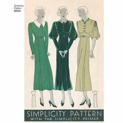 S8504 Simplicity 8504 Sewing Patterns Misses' Retro Vintage Style 1930s Dresses