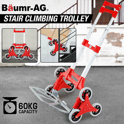 BAUMR-AG Stair Climbing Trolley 6 Wheels Aluminium Folding Hand Cart Climb Steps