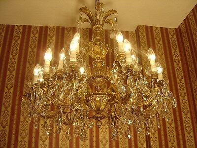 Gorgeous French 18 Light Brass Chandelier Crystal Vintage Lamp