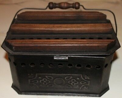 ANTIQUE Tin & Wood FOOT WARMER, Late 1800's, Stamped Design