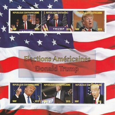 Central African Rep 6988 - US ELECTIONS - TRUMP  perf sheetlet of 6 uvalues /m