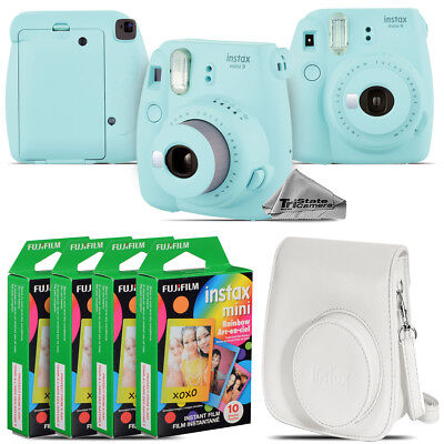 Fujifilm instax mini 9 Film Camera (Ice Blue) + White Case - 40 Films Kit