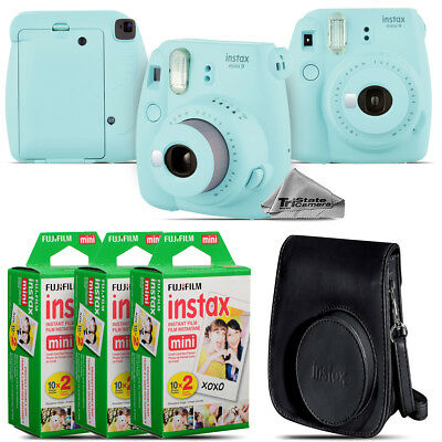 Fujifilm instax mini 9 Film Camera (Ice Blue) + Black Case - 60 Films Kit