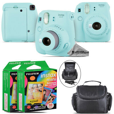 Fujifilm instax mini 9 Film Camera (Ice Blue) + Large Case - 20 Films Kit