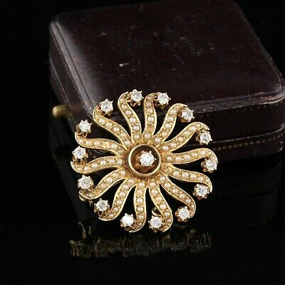 Vintage Estate 14K Yellow Gold Diamond and Seed Pearl Pin