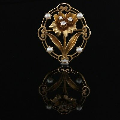 Vintage Estate 14K Yellow Gold Pearl and Diamond Flower Pin