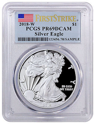 2018-W Proof American Silver Eagle PCGS PR69 DCAM FS Flag Label SKU50565