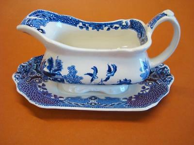 Burleigh Ware Blue Willow Gravy Boat + Unattached Underplay Burgess + Leigh