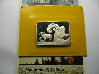 Bighorn Sheep Hamilton 1976 Very Rare 999 Silver Bar Coin Paper Sealed 250 Made