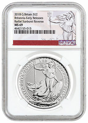2018 Great Britain 1 oz Silver Britannia £2 Coin NGC MS69 ER Excl Label SKU50746