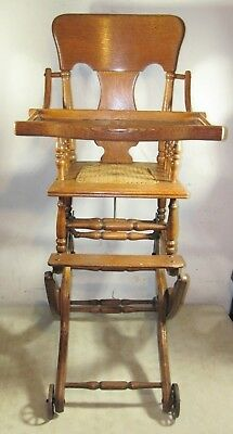 Antique Oak Wood Children's Highchair Stroller Rocking Chair Combo Child Ornate