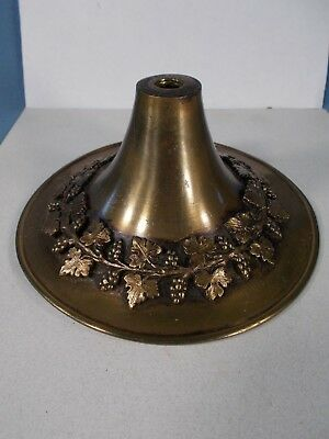 Vtg Embossed Leaves Cast Brass Patina Ceiling Canopy Sconce Canopy 5&1/2in wide