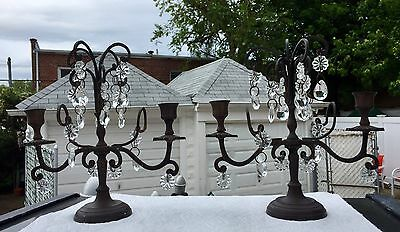 "FABULOUS PAIR OF VINTAGE CRYSTAL 10x10"" CANDLESTICKS HOLDERS - 47 PRISMS"