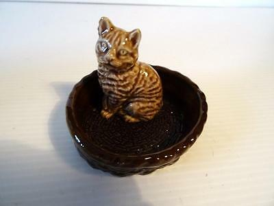 Wade Cat In Basket Vintage Small Figurine
