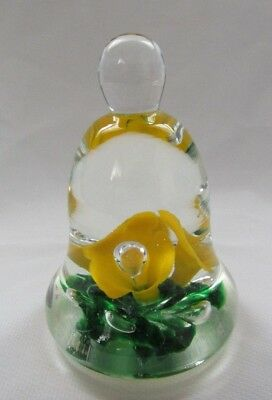 Joe St Clair Glass Bell Shape Paperweight. Yellow Flowers And Green Leaves