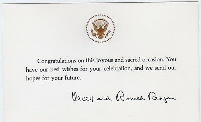 Ronald reagan white house wedding anniversary card with seal ronald reagan white house sacred occasion card with seal m4hsunfo