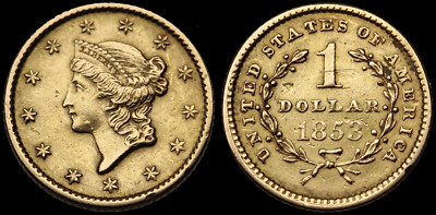 Liberty Head Gold Dollar $1, 1853, Uncirculated Details