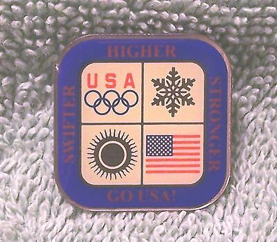 2002 Go Usa Swifter Higher Stronger Olympic Pin