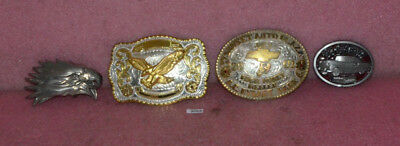 4 Vintage Belt Buckle Lot__Chevy Truck__Rodeo.