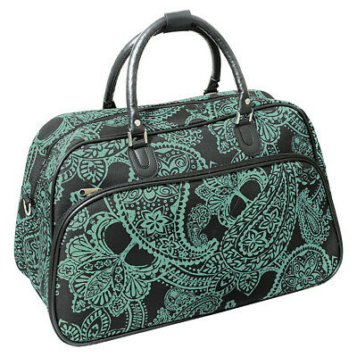 "World Traveler Paisley 21"" Carry-On Duffel Bag - Black Rolling Duffel NEW"