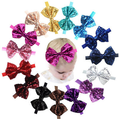 15pcs Baby Girls Headbands Sparkly Glitter Sequins Hair Bows Ribbon Aceessories