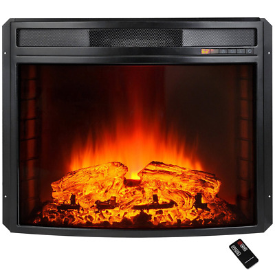 Akdy 28In. Blk Electric Firebox Fireplace Heater Insert Curve Glass Panel-Remote
