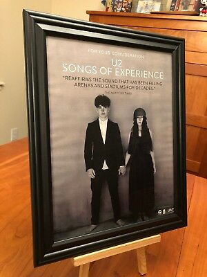 "BIG 10x13 FRAMED U2 ""SONGS OF EXPERIENCE #1"" LP ALBUM CD PROMO AD + CHART COMBO"