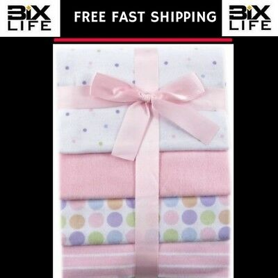 """Luvable Friends 4-Pack Flannel Receiving Blankets, Pink,28 x 28 """" brand new"""