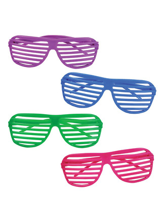 80's Shutter Shade Party Sunglasses 12 Pc Summer Beach Toys Fun Kids Adults NEW