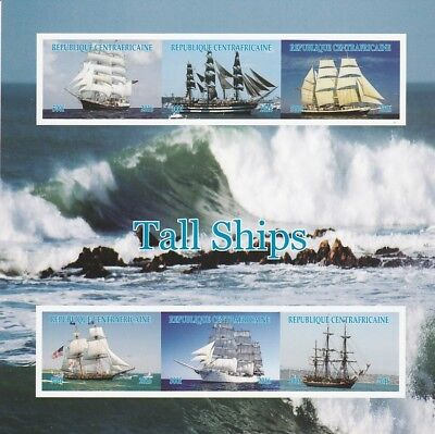 Central African Rep 7015 - TALL SHIPS  imperf sheetlet of 6 u/m