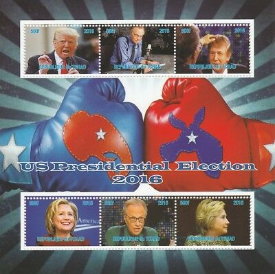 Chad 7016 - US PRESIDENTIAL ELECTIONS perf sheetlet of 6 u/m