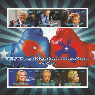 Chad 7017 - US PRESIDENTIAL ELECTIONS imperf sheetlet of 6 u/m