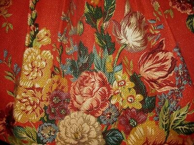 Ralph Lauren AYLESBURY Queen Size Bed Skirt Floral Red Heavy Cotton Made in USA